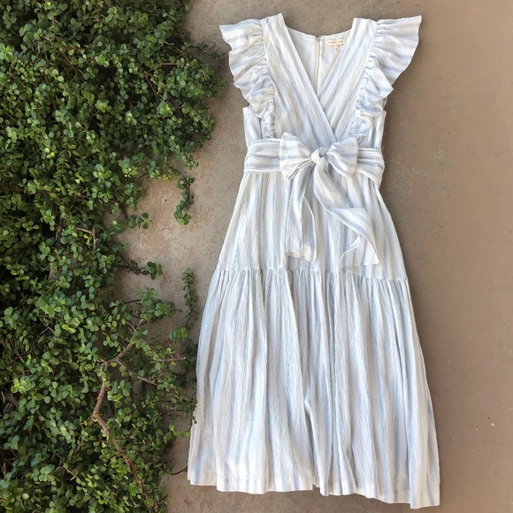 0cc8c50a2cd Rebecca Taylor Ruffle Yarn Dye Stripe Midi Dress. M 5c421be17386bcd3bfa618f8